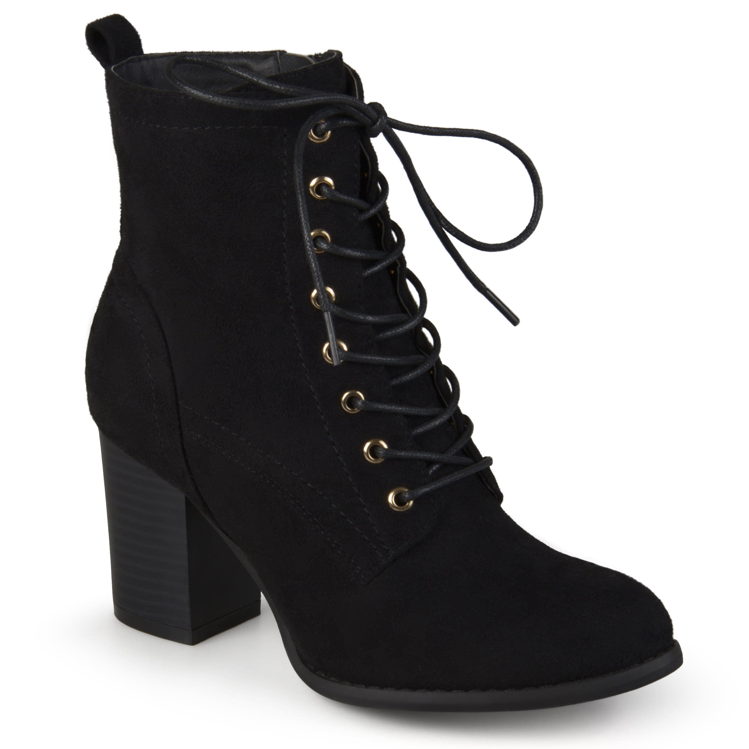 Faux Suede Booties with Stacked Heel