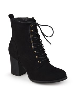 Brinley Co. Women's Lace-Up Faux Suede Booties with Stacked Heel