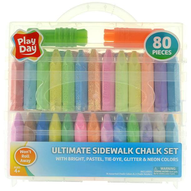 Play Day Ultimate Sidewalk Chalk Set 80 Pieces Walmart Com Walmart Com