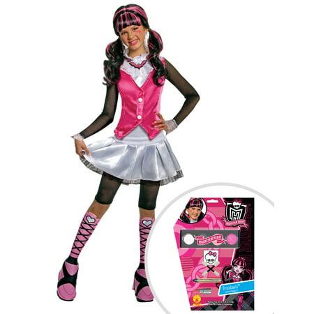 Girl's Deluxe Draculaura Monster High Costume and Draculaura Monster High Makeup - Draculaura Makeup For Halloween