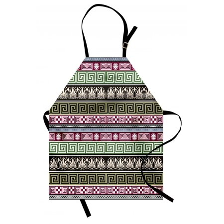 Logo Pattern Apron (Greek Key Apron Antique Greek Ornamental Design Ancient Pattern with Mosaic Effects Old Fashioned, Unisex Kitchen Bib Apron with Adjustable Neck for Cooking Baking Gardening, Multicolor, by Ambesonne )