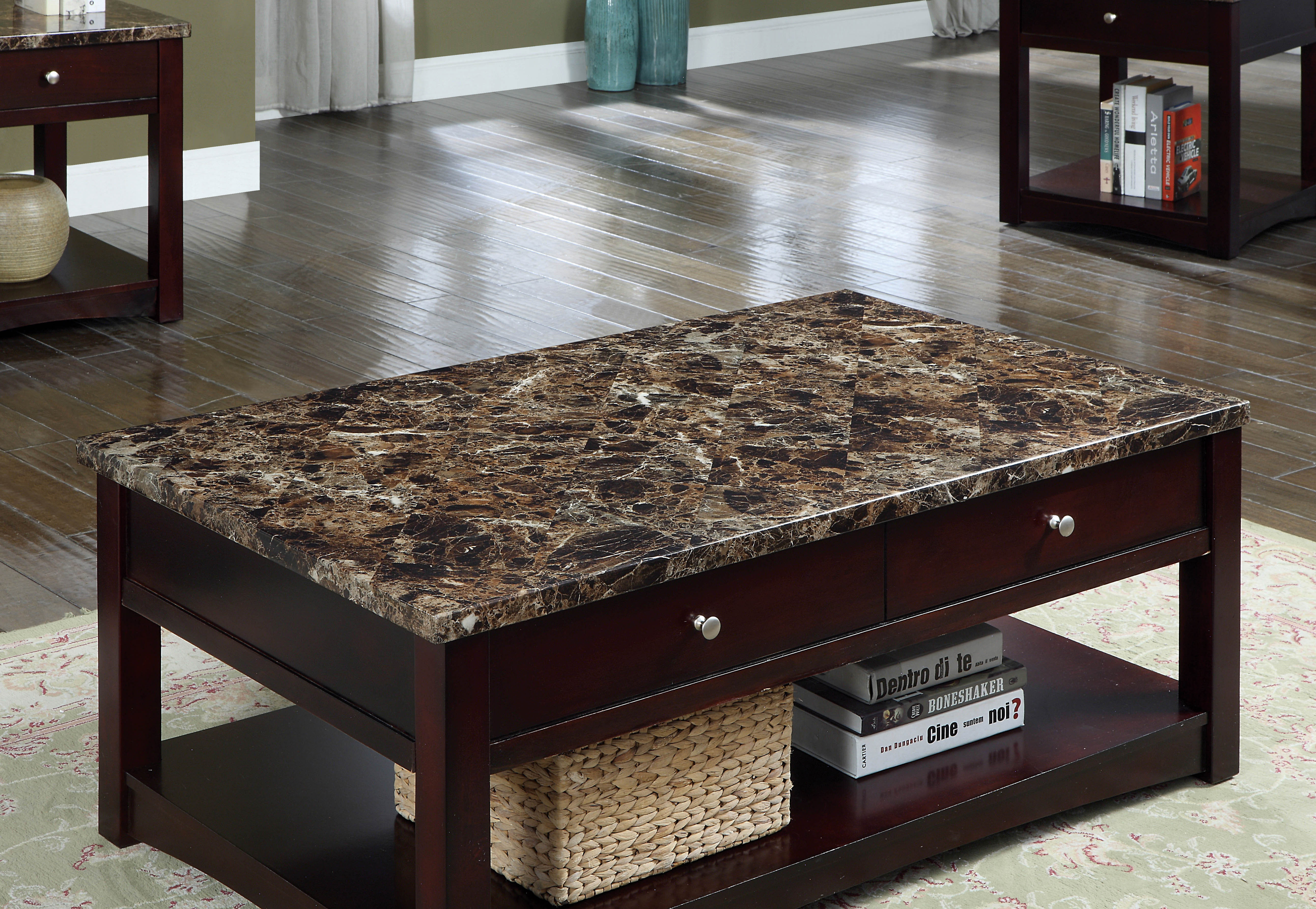 Furniture Of America Newport Contemporary Faux Marble Lift Top Coffee Table