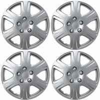 OxGord 15-Inch 6-Spoke Snap On Hubcaps for Toyota Corolla, Silver (Pack of 4)
