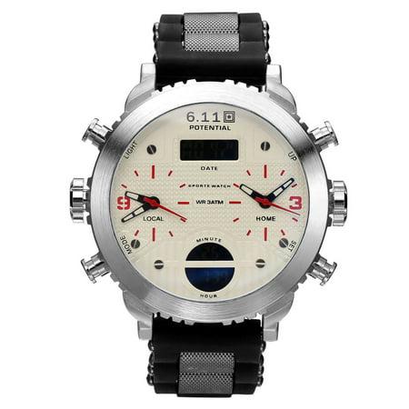 Mens Luminous Quartz Digital Wrist Watch White Dial Silver Case Rubber (Strap Silver White Dial)