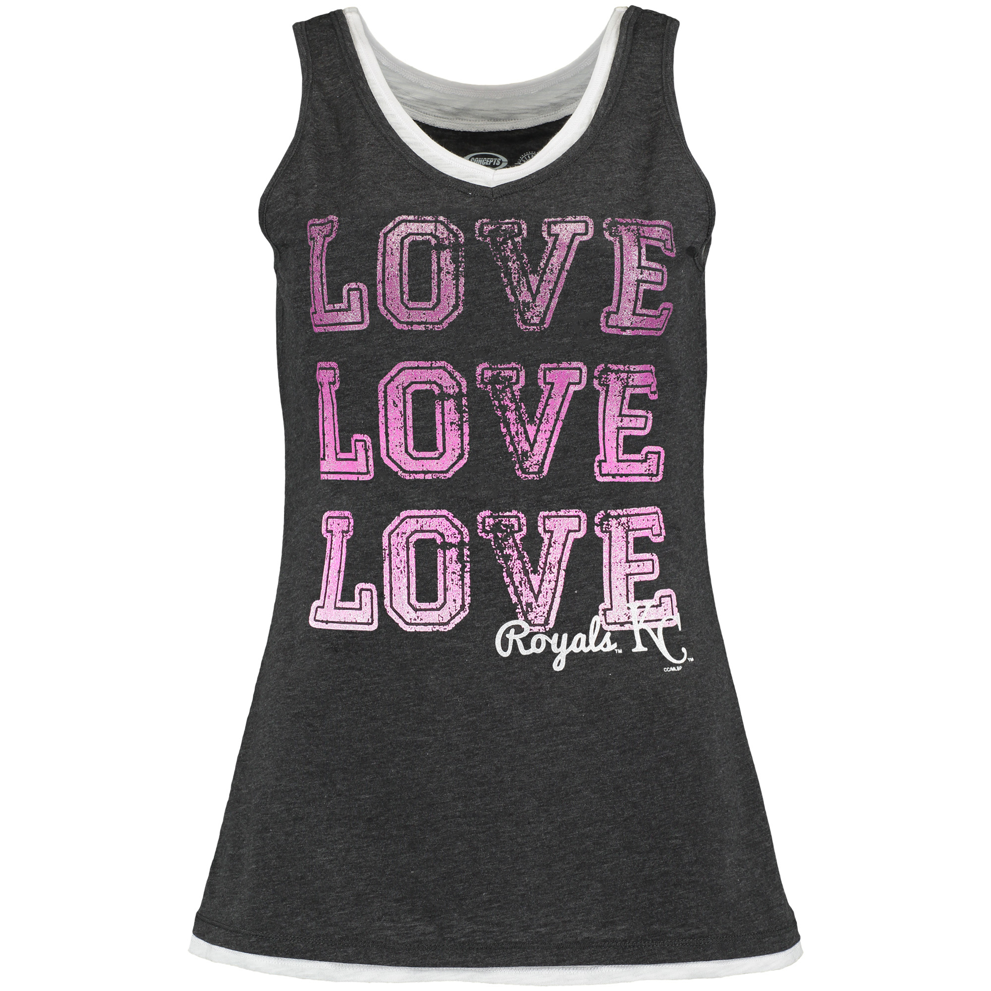 Kansas City Royals Concepts Sport Women's Crush Layered Tank Top - Charcoal