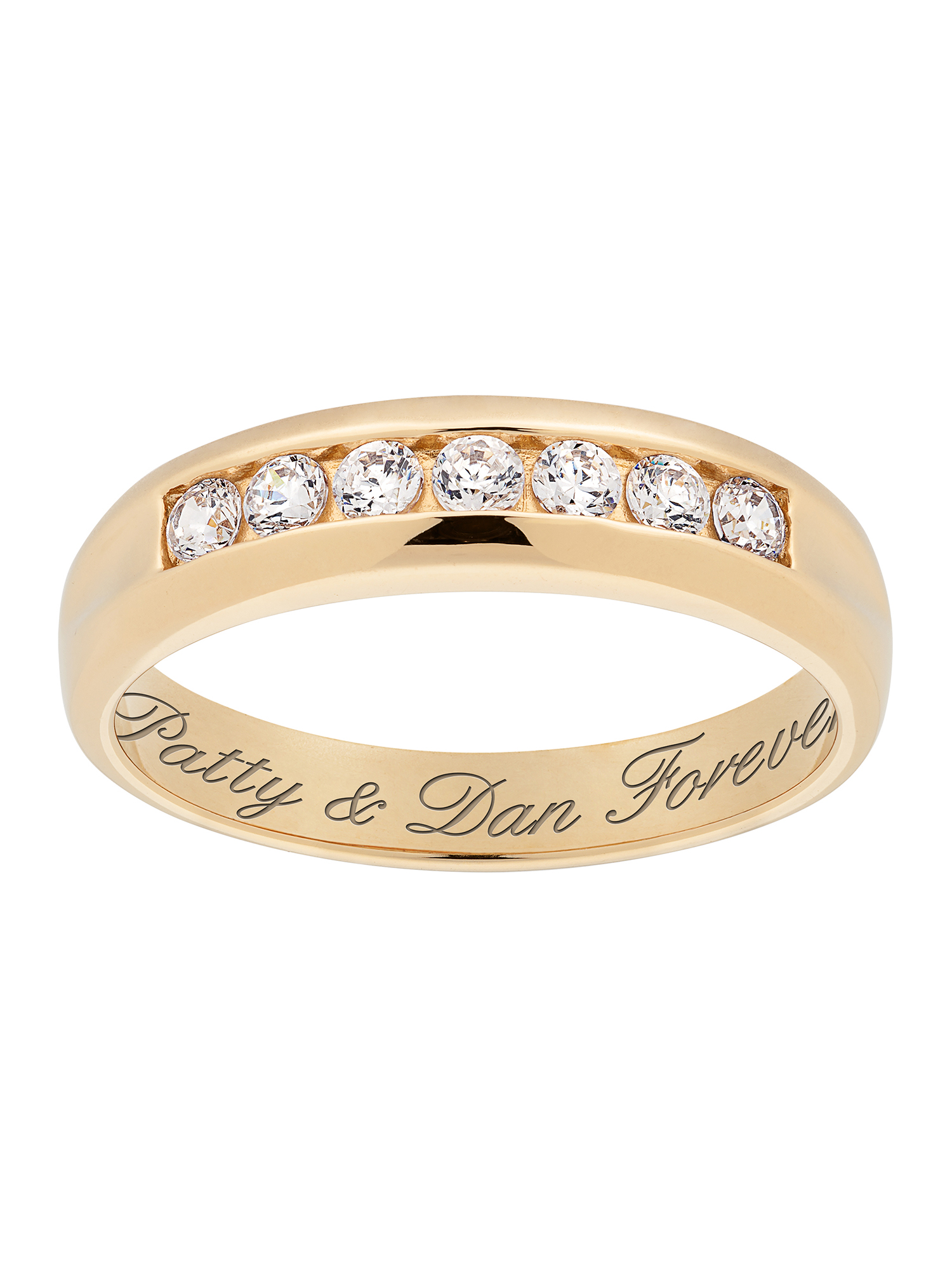 Personalized Men's Engraved CZ Wedding Band in 18kt Gold-Plated Sterling Silver