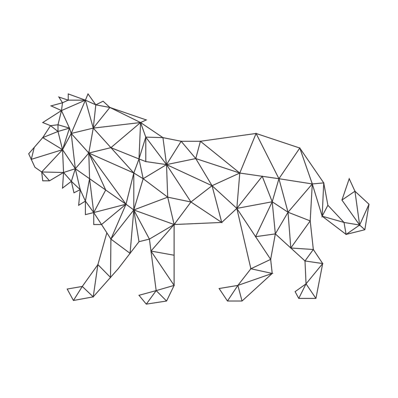 Lion Geometric Wall Decoration Sign Jungle Home Bedroom Office Artwork Square Sign Size (), 12x12