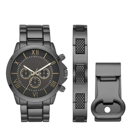 Men's Gun Metal Watch Gift Set with Money Clip