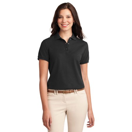 Port Authority L500 Ladies Silk Touch Polo Shirt   Black   X Small
