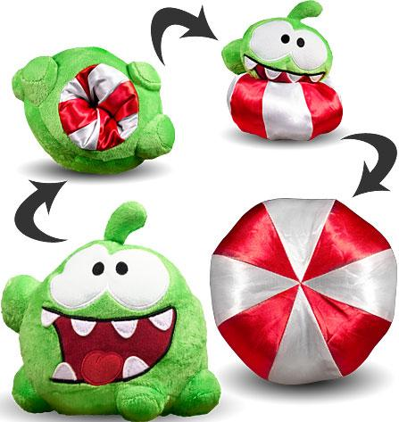 """Cut the Rope Reversible Om Nom 6"""" Plush [Peppermint Candy]"""