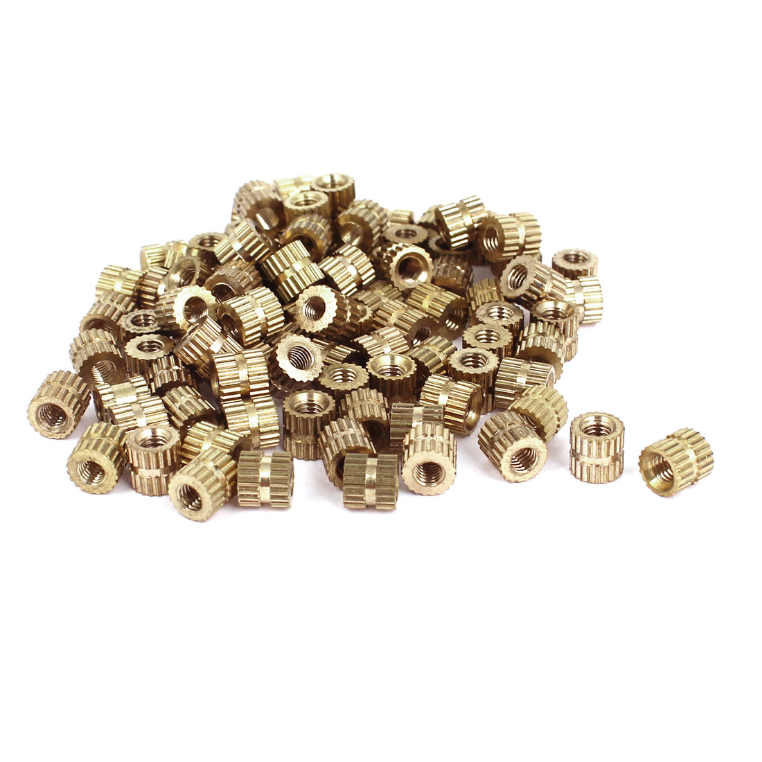 100 Pcs M3x5mm(L)-5mm(OD) Metric Threaded Brass Knurl Round Insert Nuts
