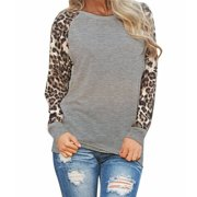 DZT1968 Womens Leopard Blouse Long Sleeve Fashion Ladies T-Shirt Oversize Tops