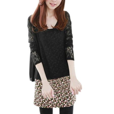Women Slipover Floral Prints Tunic Top w Semi Sheer Loose Bloe