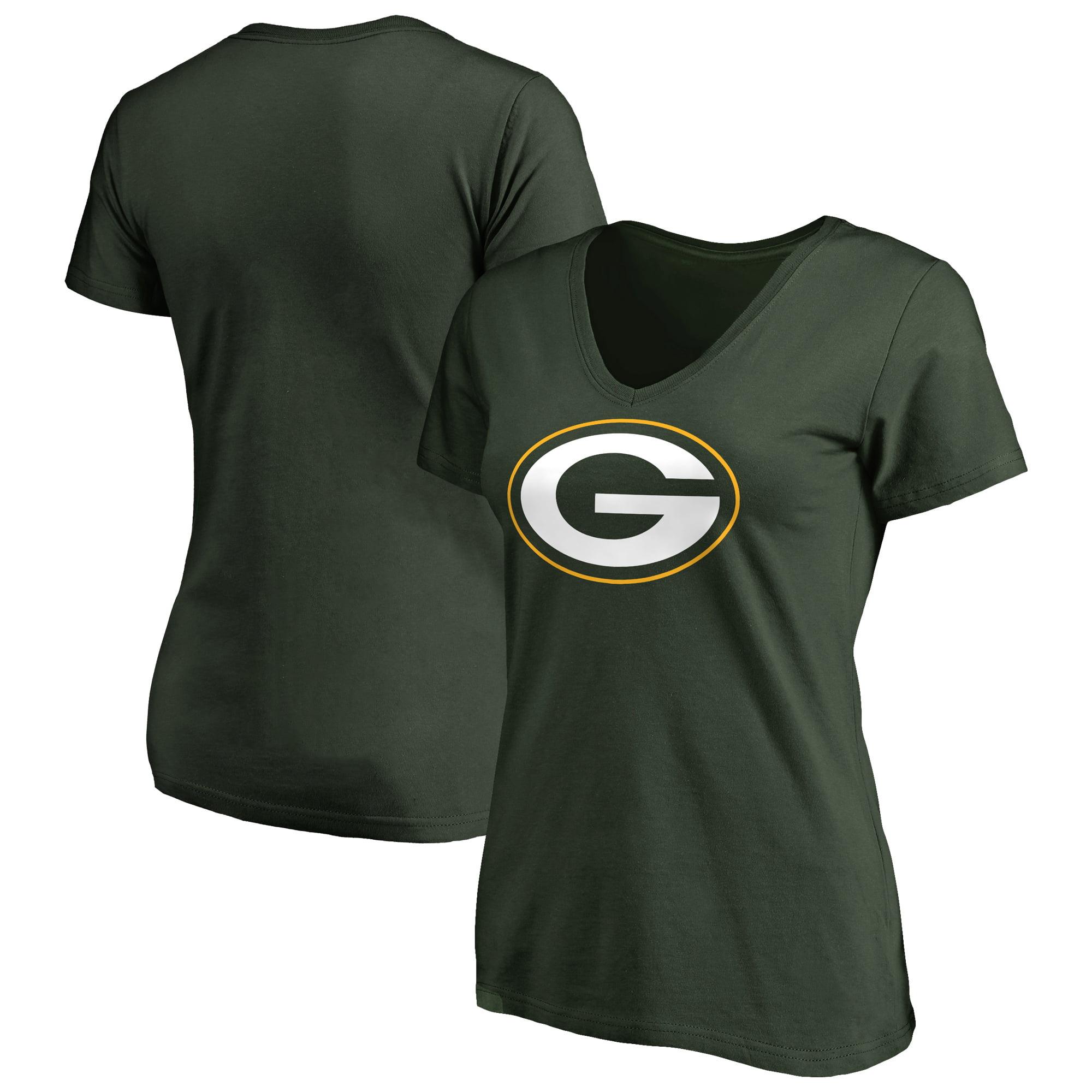 Green Bay Packers NFL Pro Line Women's Primary Logo V-Neck T-Shirt - Green