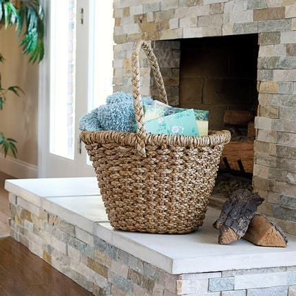 Household Essentials Large Wicker Basket Tote with Long Handle ()