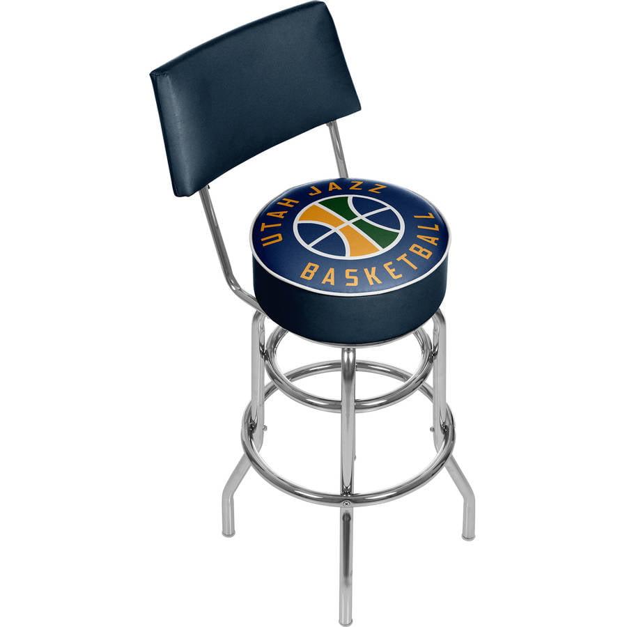 "Trademark NBA Utah Jazz 40"" Padded Swivel Bar Stool with Back, Chrome"