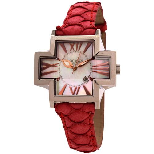 New Ladies Exotic Locman Red Plus Cross Unique Case Roman Numerics Watch Watch by Locman