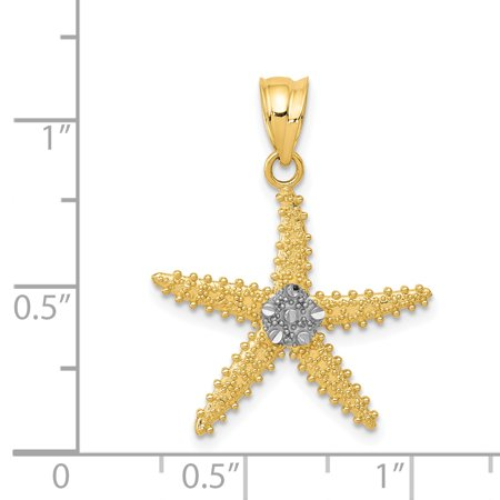 14K Rhodium Plated Yellow Gold & Rhodium Diamond Cut Starfish Pendant - image 1 of 2