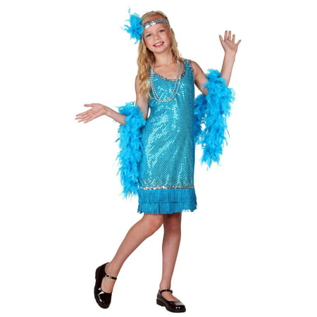 Child Turquoise Sequin and Fringe Flapper Costume](Sequin Flapper Costume)