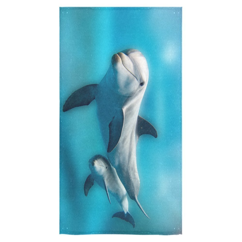 "ZKGK Dolphins Swimming in the Deep Blue Sea Beach Towel Bath Towel Bathroom Shower Towel Bath Wrap 30""X56"" For Home,Outdoor and Travel Use"