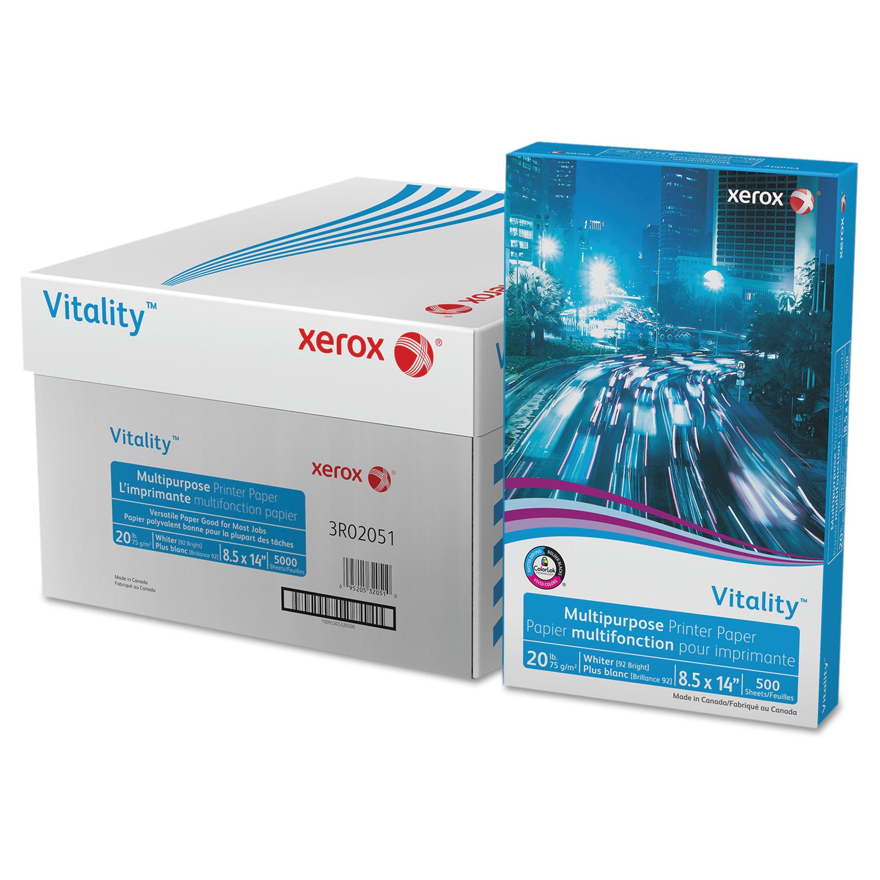 Xerox Vitality Multipurpose Printer Paper, 8 1/2 x 14, White, 5,000 Sheets/CT
