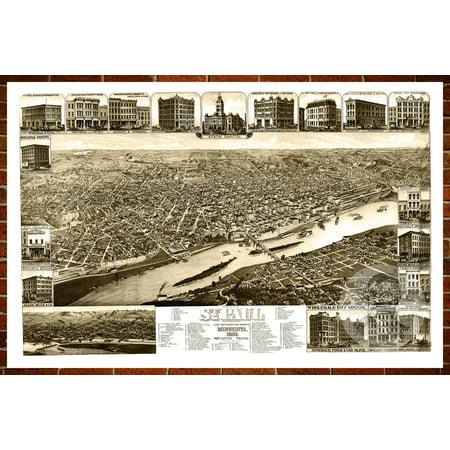 Ted's Vintage Art Map of St. Paul, MN 1883; Old Minnesota Decor 8