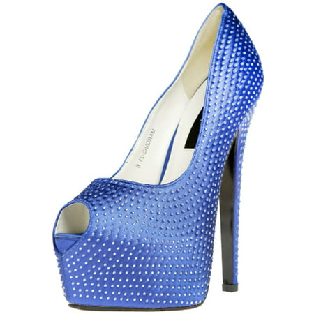 "Womens 6"" Royal Blue Rhinestone Covered Peep Toe Pump 2"" Platform Shoes"