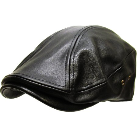 Black Classic PU Leather Newsboy Gatsby Ivy Hat Golf Driver Ascot - Newsboy Hat