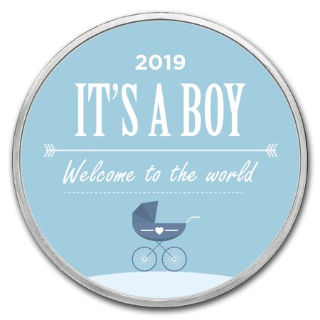 1 oz Silver Colorized Round - APMEX (2019 Baby Boy (Best Rated Strollers 2019)
