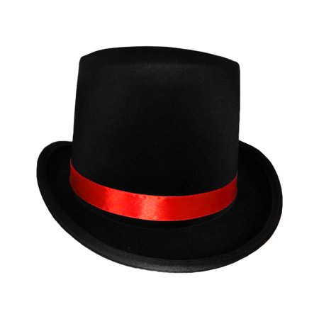 Jack Ripper Day Of The Dead Gothic Ringmaster Black Top Hat Red Band Costume