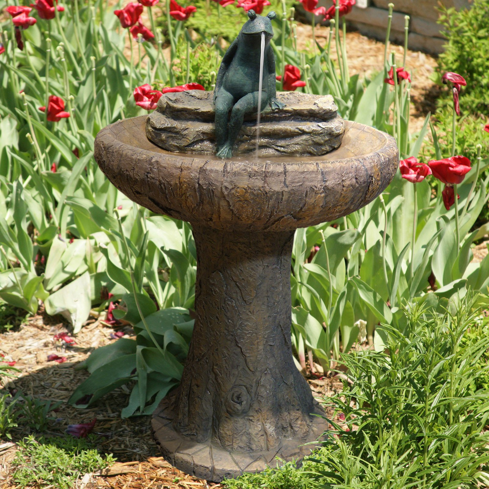 Alpine Summer Pond Outdoor Bird Bath Fountain
