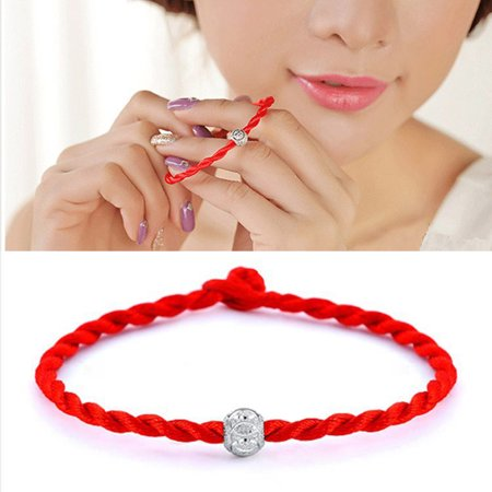 Obstce Ethnic Silver Plated Bead Braided Red Rope Bracelet Unisex Lucky Wrist Decor
