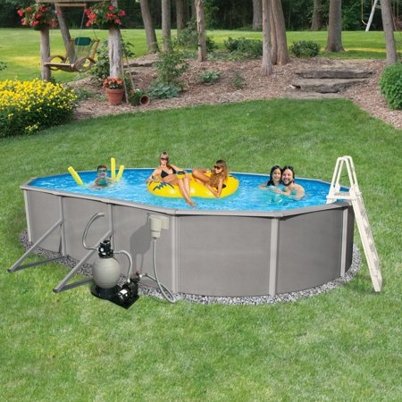 Blue Wave Belize 12-ft x 24-ft Oval 48-in Deep 6-in Top Rail Metal Wall Swimming Pool Package