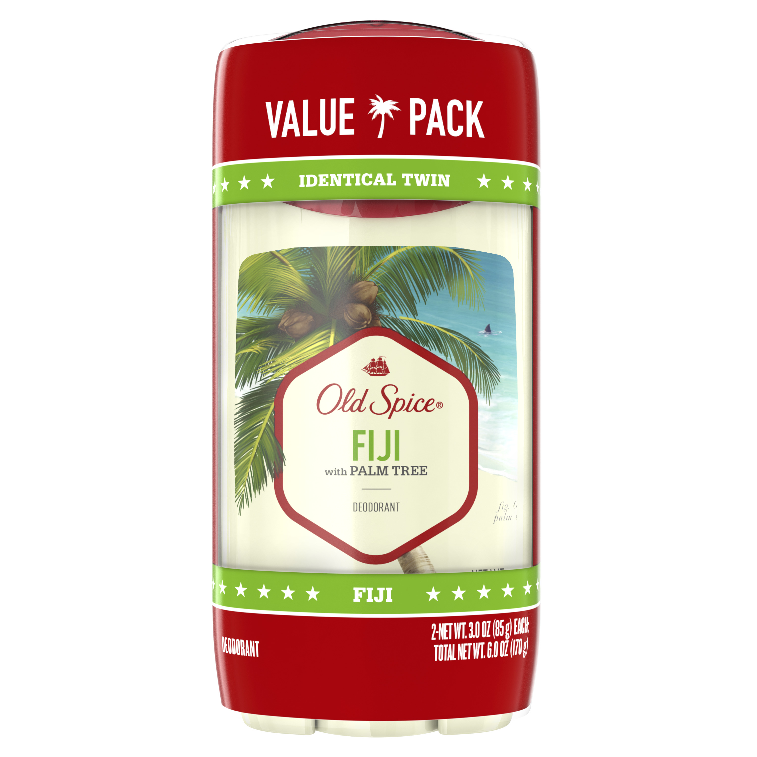 Old Spice Deodorant for Men Fiji with Palm Tree Scent Inspired by Nature 3 oz (Pack of 2)
