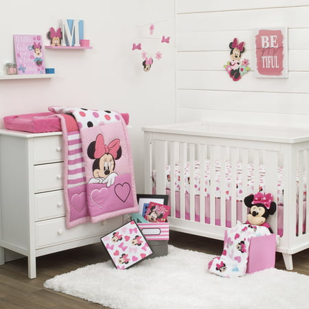 Disney Minnie Mouse Loves Dots Pink White And Black 4 Piece Nursery