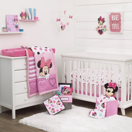 - Disney Minnie Mouse Loves Dots, Pink, White, and Black 4-Piece Nursery Crib Bedding Set