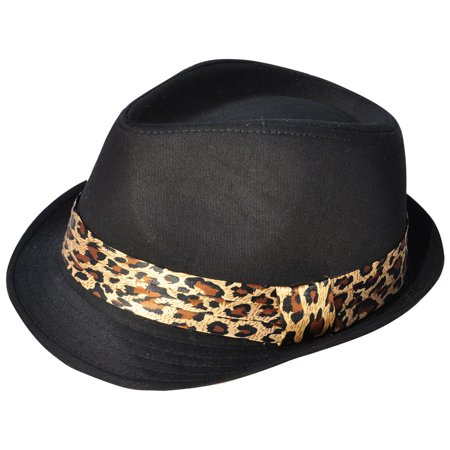 0f36275a34eae8 Simplicity Adult Feather Trilby Wool Fedora Hats, Black/Leopard Pattern Band