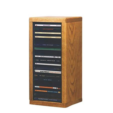 Cdracks Media Furniture Solid Oak Desktop or Shelf CD Cabinet Capacity 20 CDs Honey Finish