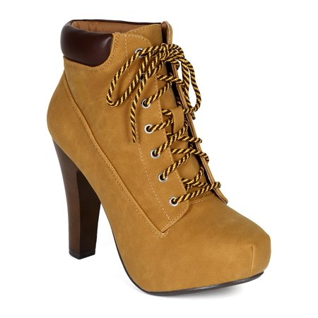 Qupid CK57 Nubuck Lace Up Wooden Chunky Heel Padded Collar Platform Ankle Bootie