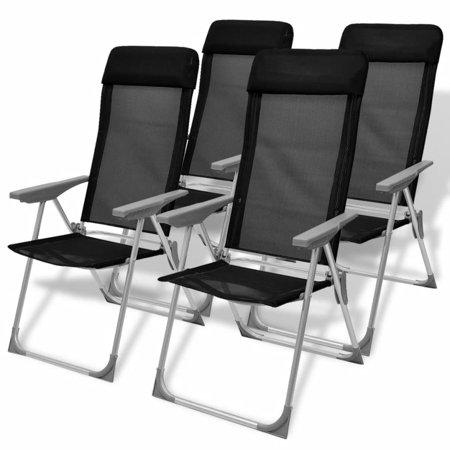 "22""x23.6""x44.1""4 pcs Camping Aluminum Black Chairs Hunting Fishing thumbnail"