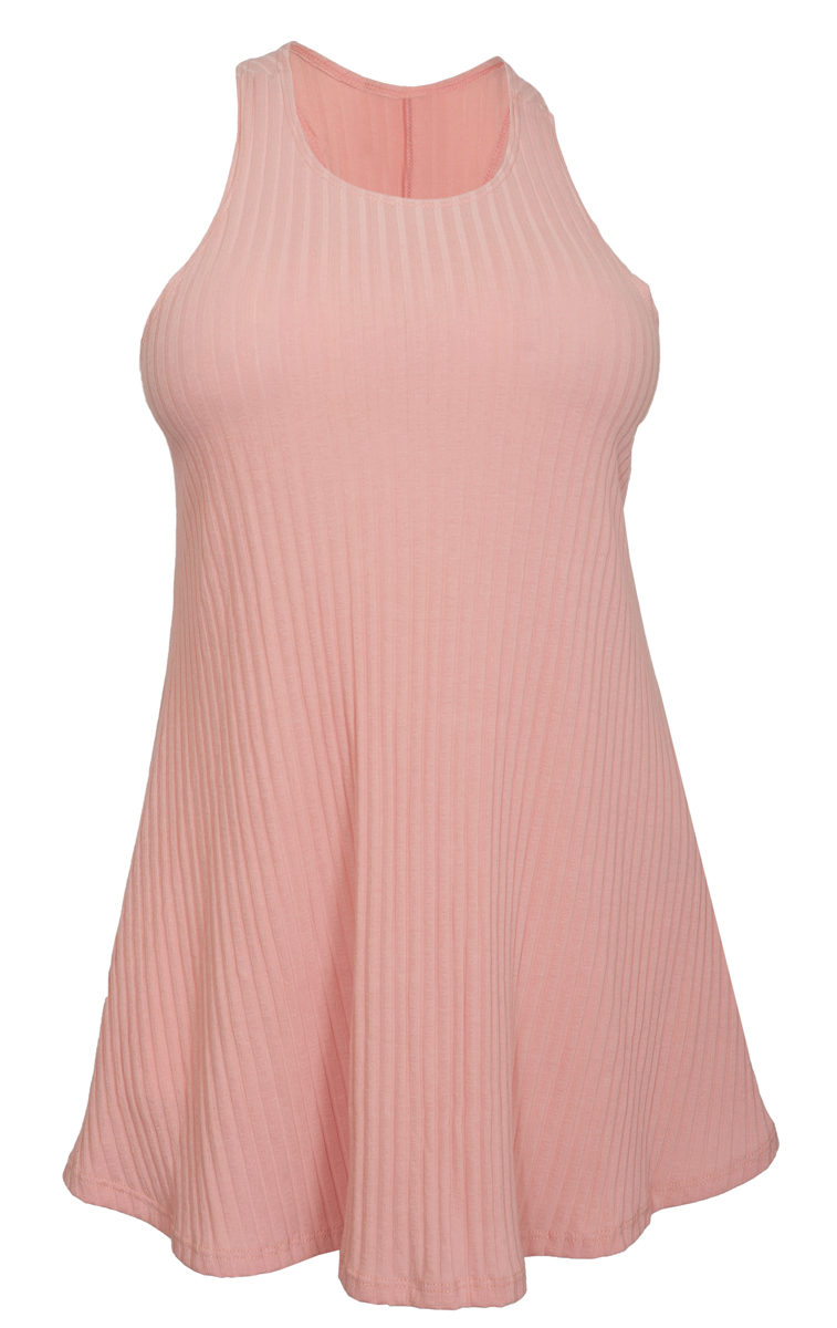 eVogues Plus Size Ribbed Sleeveless Racerback Tunic Top Pink
