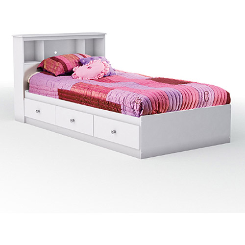 South Shore Crystal Twin Mates Bed Bookcase Headboard Pure White Walmart Com