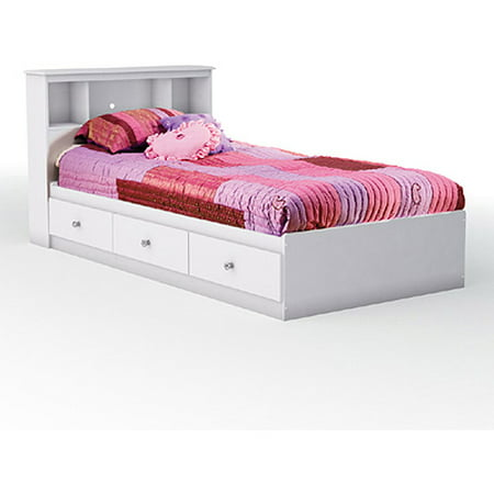 South Shore Crystal Twin Mates Bed & Bookcase Headboard, Pure White