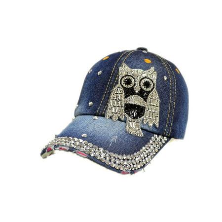 Women Men Owl Denim Rhinestone Bling Baseball Cap