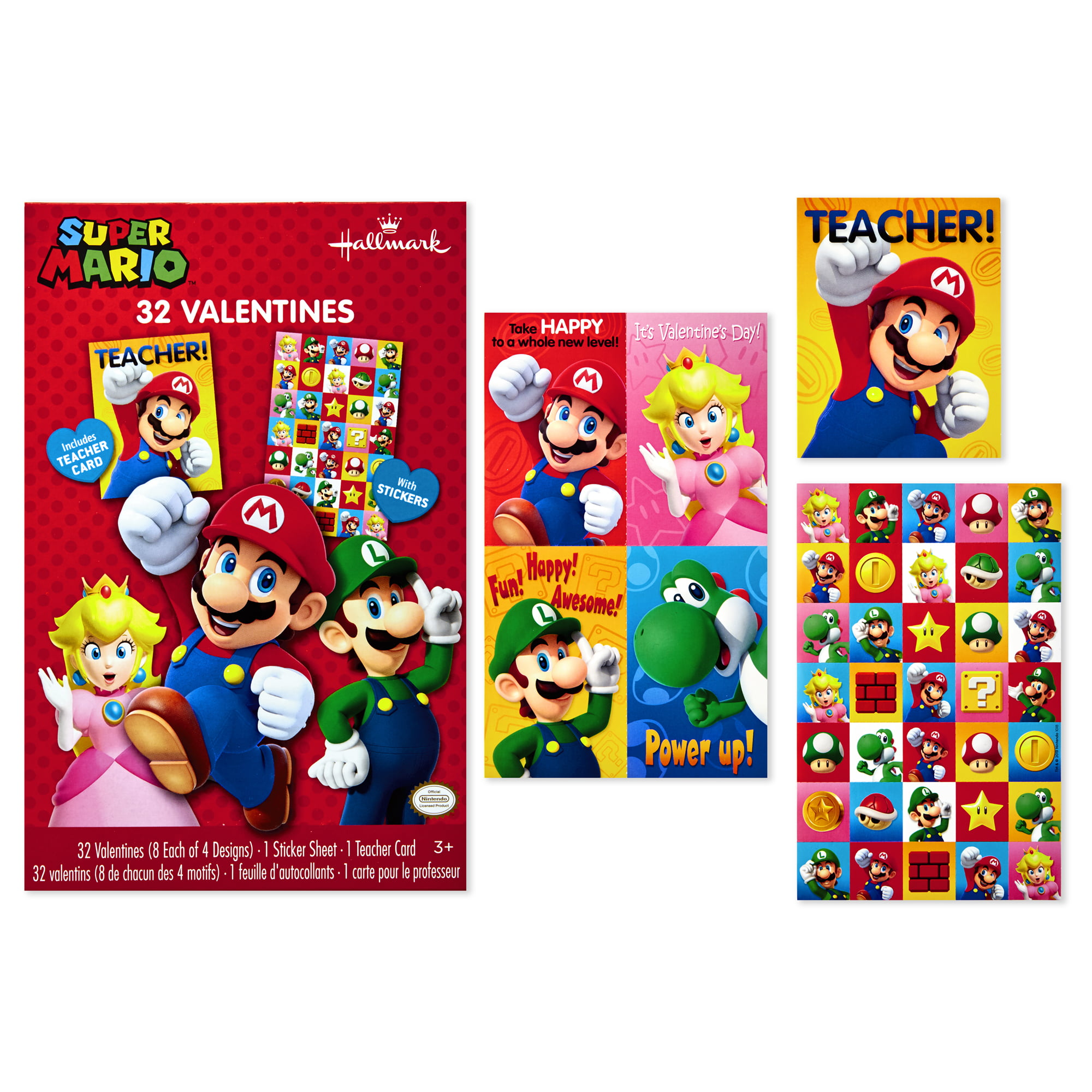 Hallmark kids nintendo super mario valentines day cards 32 cards 35 stickers 1 teacher card walmart com