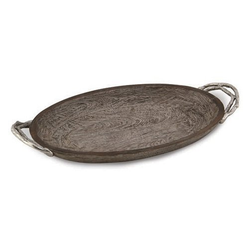 Star Home Weathered Wood Handled Oval Platter