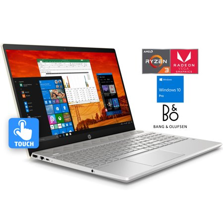 "HP Pavilion 15 Notebook, 15.6"" HD Touchscreen, AMD Dual-Core Ryzen 3 2200U Upto 3.4GHz, 8GB RAM, 128GB NVMe SSD + 1TB HDD, AMD Radeon Vega 3, HDMI, Wi-Fi, Bluetooth, Windows 10 Pro"