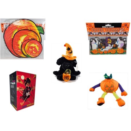Halloween Fun Gift Bundle [5 Piece] - Classic Pumpkin Cutouts Set of 9 - Ghostly Magic Paper Trimmer 3.75 in x 9 ft. - ADA Trick or Treat Wizard Black Puppy Plush -  Animated 16