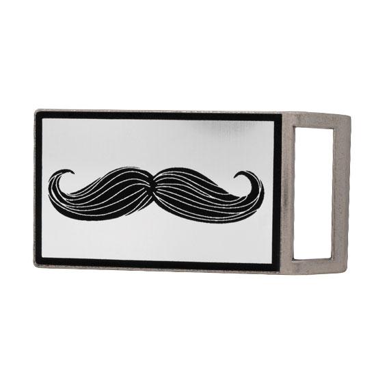 Buckle Rage Gentleman's Mustache Rectangle Rectangle Belt Buckle, ANTIQUE SILVER, S1001-139-ATS