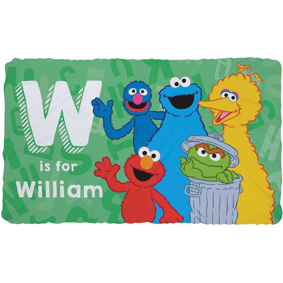 Personalized Sesame Street Initial Fuzzy Blanket